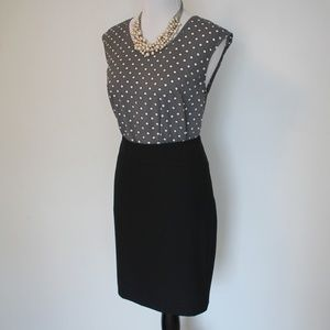 THE LIMITED Size 8 Skirt Blouse Set Black Gray